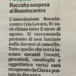Chiusura estiva associazione (articolo pubblicato sulla Nuova Ferrara il 29.07.2019)